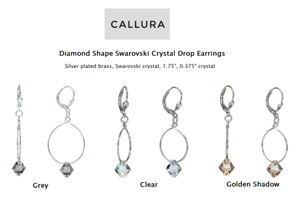 Mothers Day - Diamond Shape Swarovski Crystal Drop Earrings