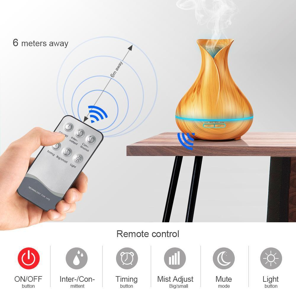 500ml Plug-In Tulip Style Wood Grain Diffuser with Remote Control - Buy 1 FREE 1