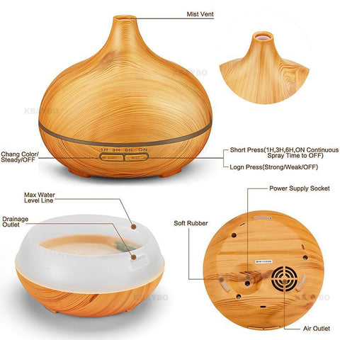 500ml Plug-In Wood Grain Diffuser with Remote Control - Buy 1 FREE 1