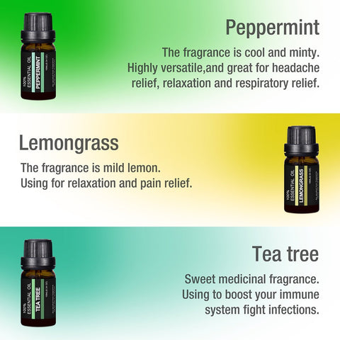 CANADA only | 6pcs of 10ml Pure Aromatherapy Essential Oils (6 Fragrances)