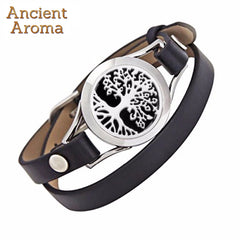 Tree of Life Design Aromatherapy Leather Bracelets