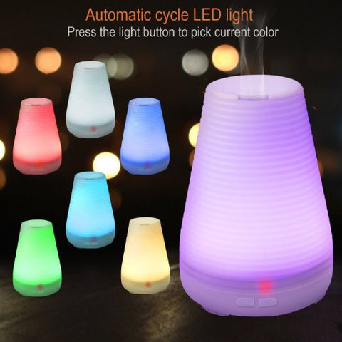 100ml Plug-In Ridged Cone Shaped 7 Color LED Lights Essential Oil Ultrasonic Diffuser Humidifier