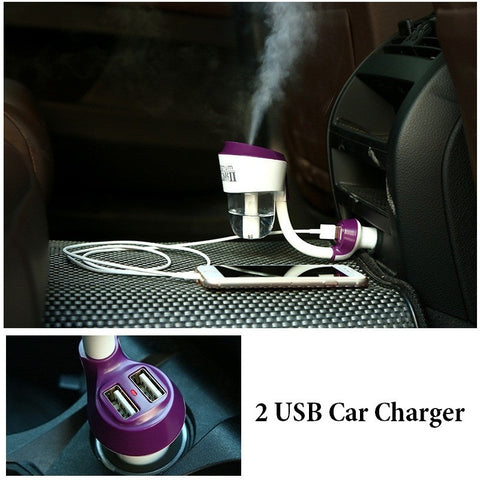 12V Car Aromatherapy Essential Oil Ultrasonic Diffuser Humidifier with 2 USB Charger Ports