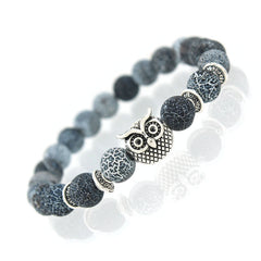 Owl Design Natural Stone Beads Bracelet