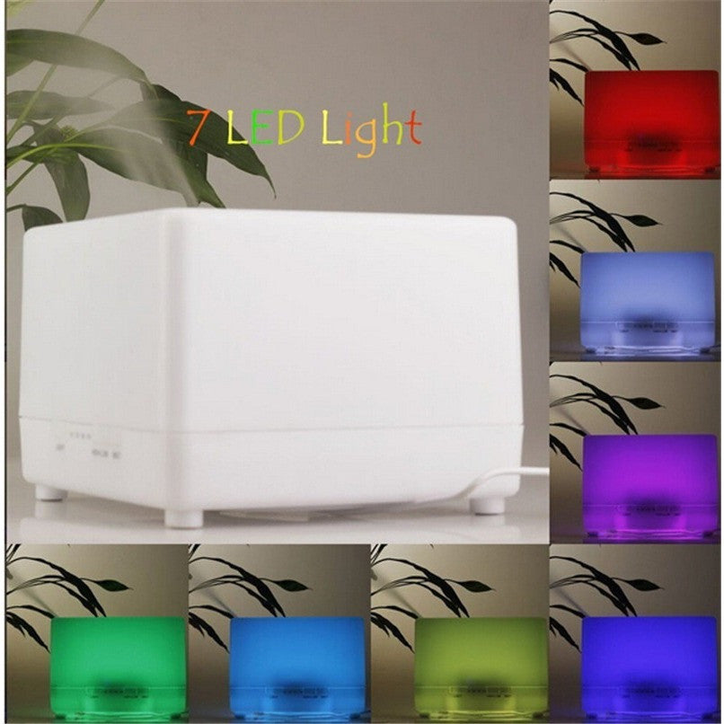 700ml Square Design Plug-In 7 Color LED Lights Essential Oil Ultrasonic Diffuser Humidifier