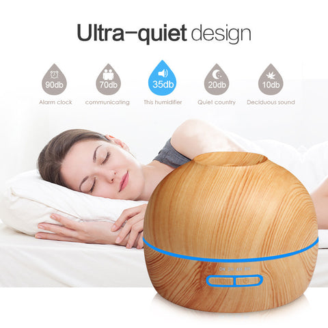 300ml Wood Grain 7 LED Aroma Diffuser