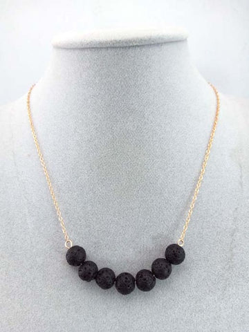7 Natural Lava Stone Necklace