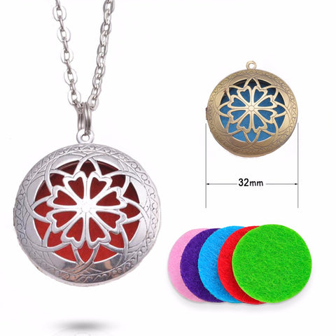 32mm Round Essential Oil Diffuser Necklace with Colorful Felt Pads