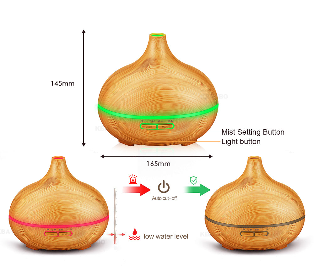 Reseller - 300ml Wood Grain Essential Oil Diffuser