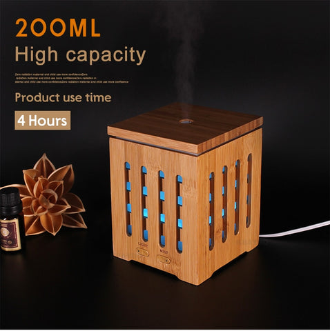 200ml Plug-In Box Style Bamboo Ultrasonic Diffuser