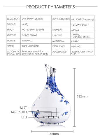 300ml Plug-In Faux Blue Porcelain Diffuser