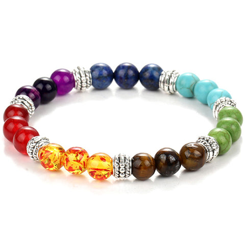 7 Chakra Bracelet with Black Natural Stone Yoga Bracelet