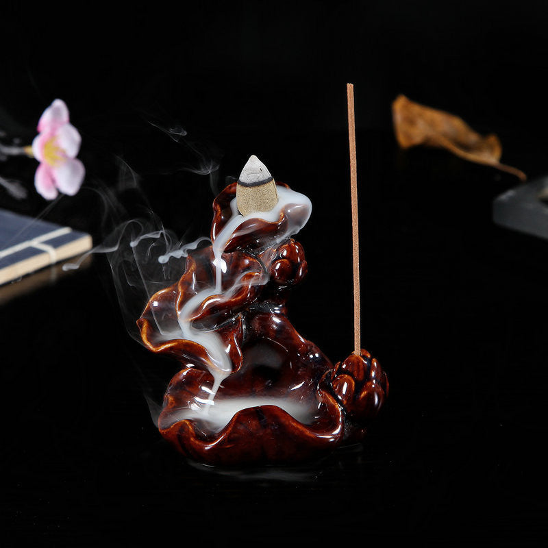 Lotus Ceramic Backflow Incense Burner for Home and Office Decoration