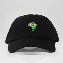 Brazil Country Map Dad Hat - Black