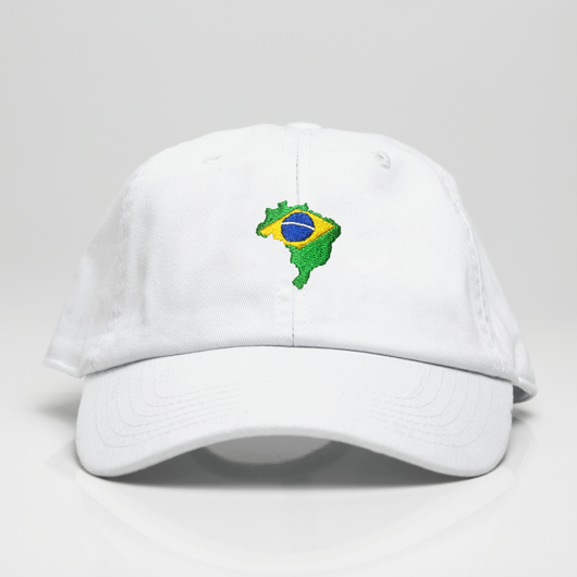 Brazil Country Map Dad Hat - White