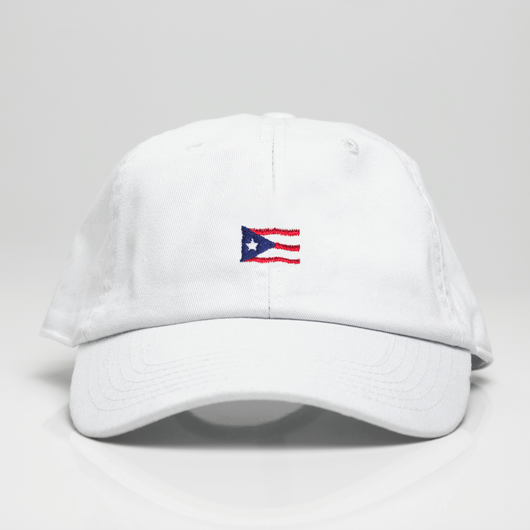 Puerto Rican Waving Flag Dad Hat - White