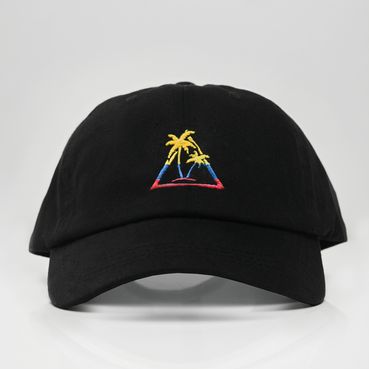 Tri-Col Palm Tree Dad Hat - Black