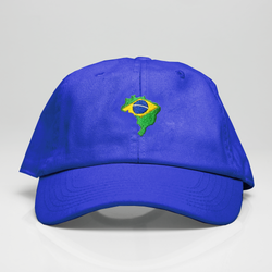 Brazil Country Map Dad Hat - Royal