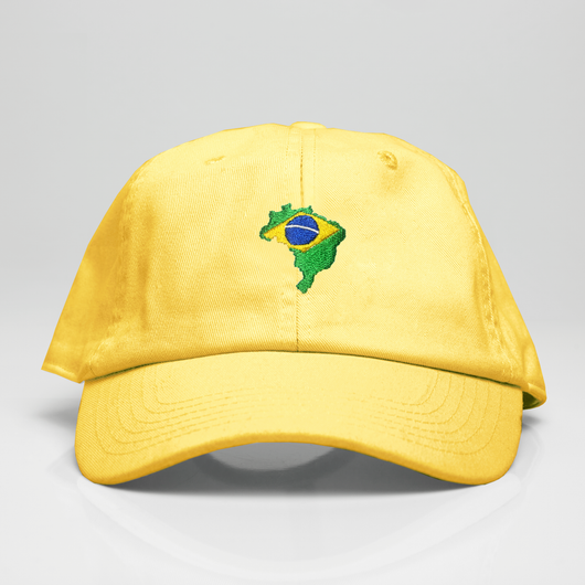 Brazil Country Map Dad Hat - Yellow