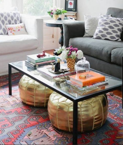 Glass table with space for Ottomans