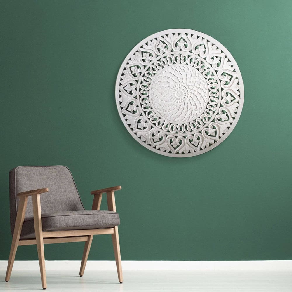 "Decorative Mandala ""Kegem"" - White wash 80 cm"