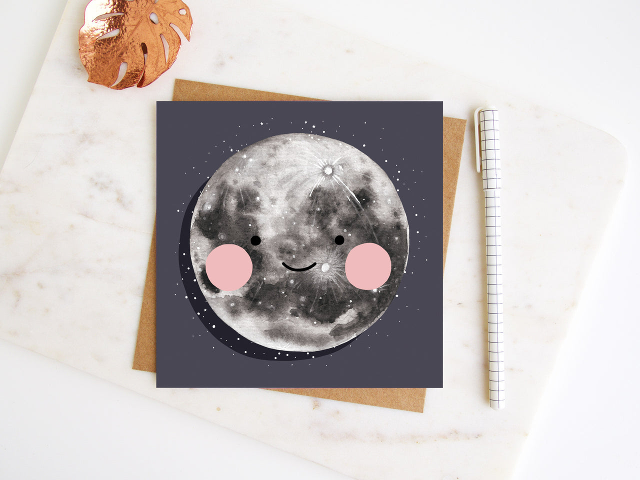 Happy Little Moon Greetings Card