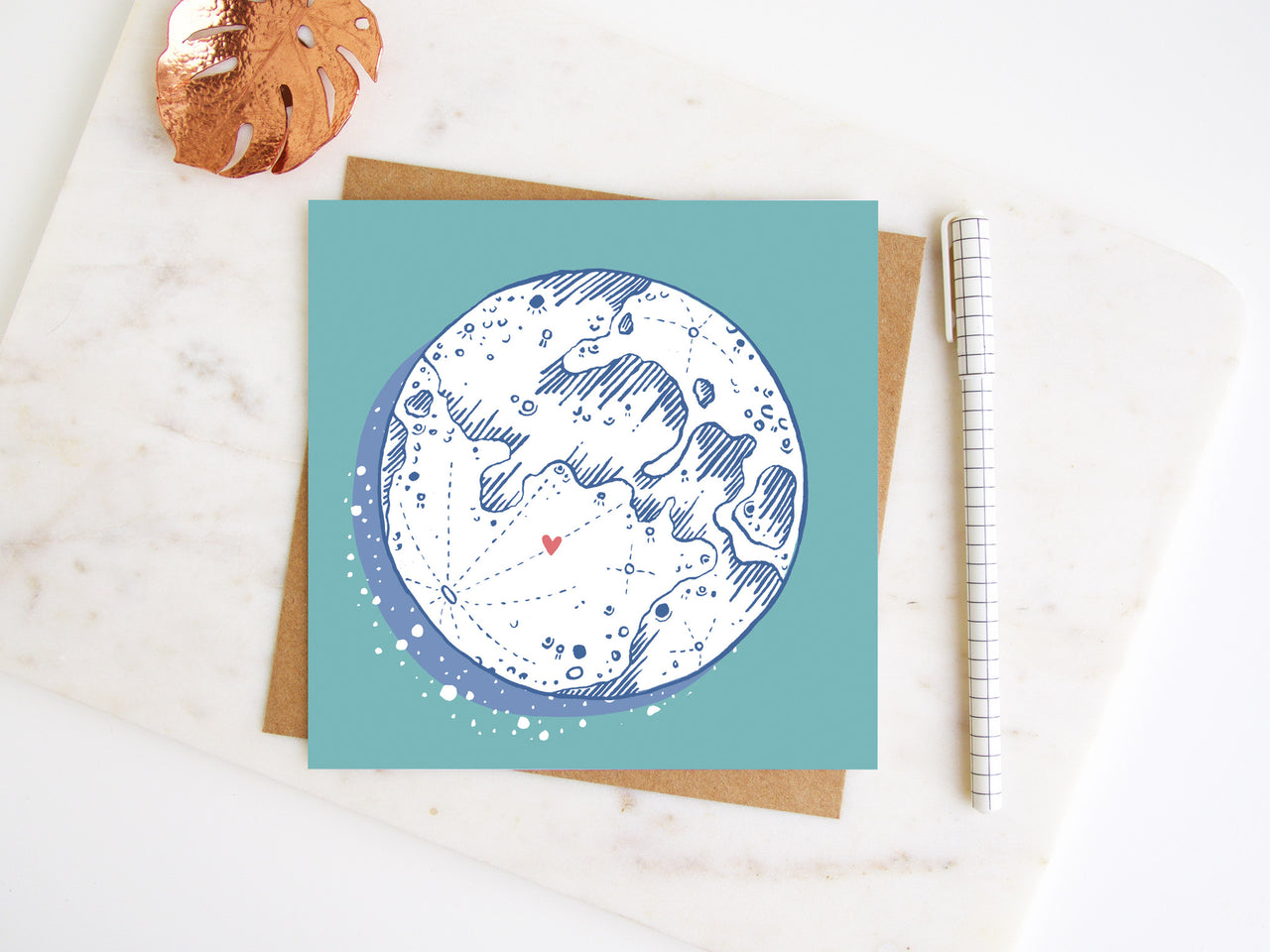 Minty Moon Greetings Card