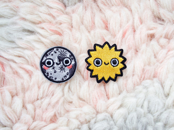 Mini Moon & Sun Iron-On Embroidered Patches