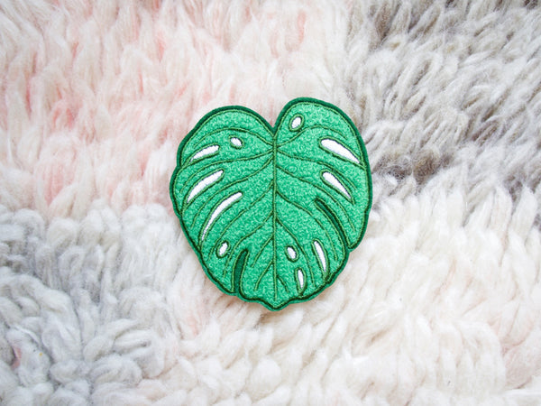 Monstera Leaf Iron-On Embroidered Chenille Patch