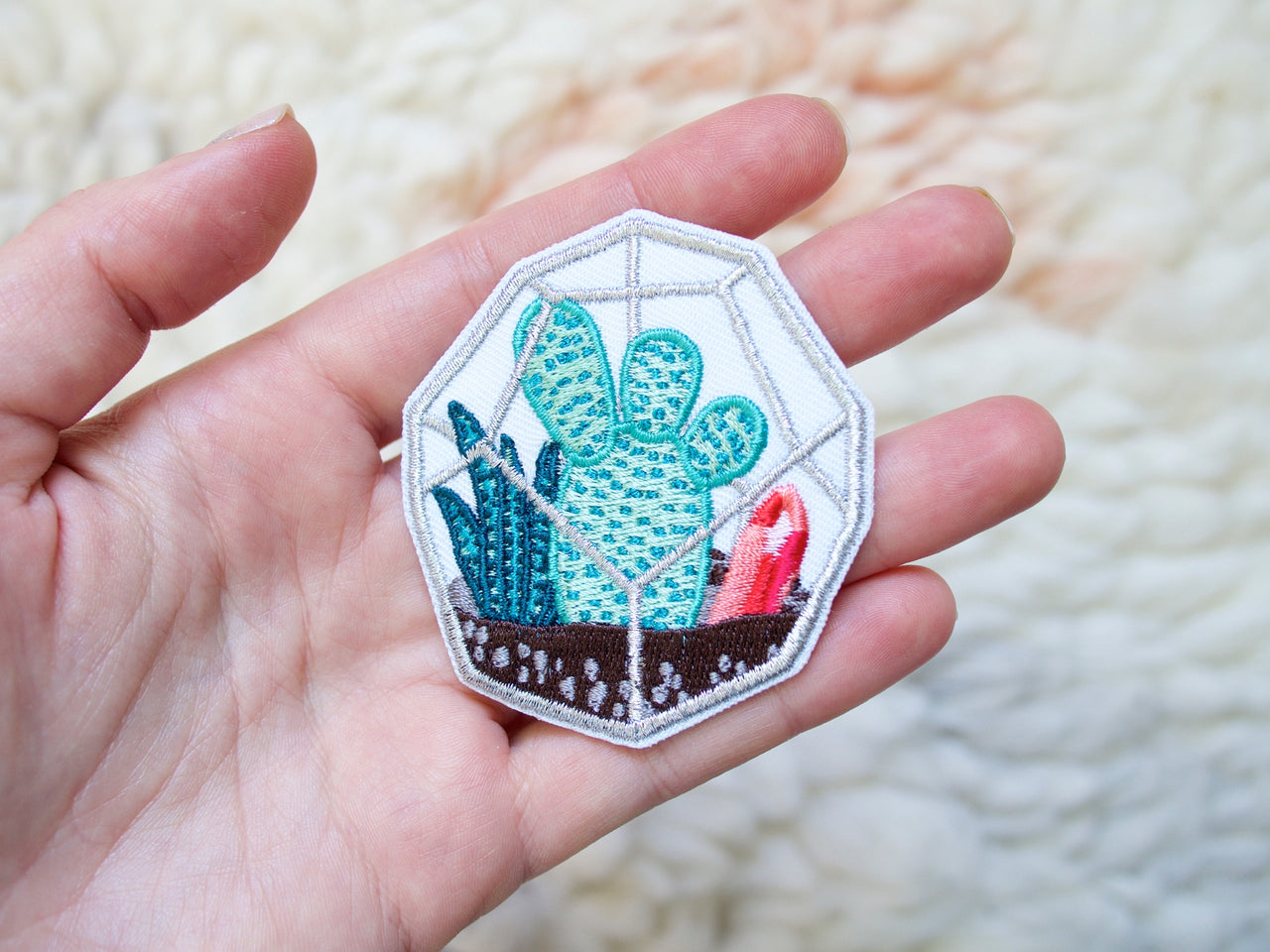 Metallic Terrarium Iron-On Embroidered Patch