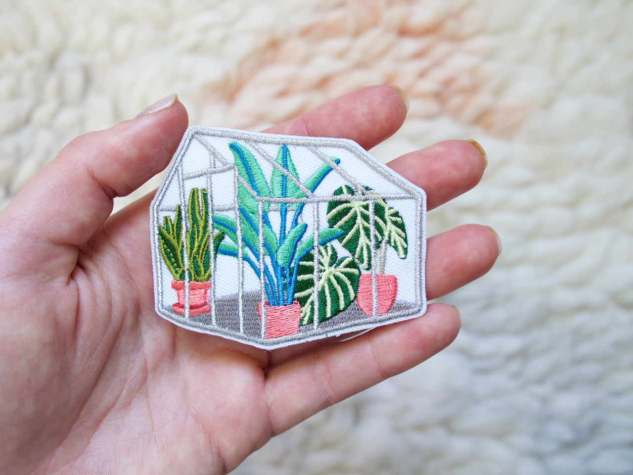 Metallic Tropical Glasshouse Iron-On Embroidered Patch