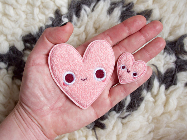 Big & Baby Heart Pal Iron-On Embroidered Chenille Patches