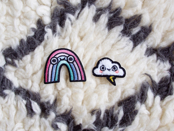 Rainbow & Rain Cloud Iron-On Embroidered Patches