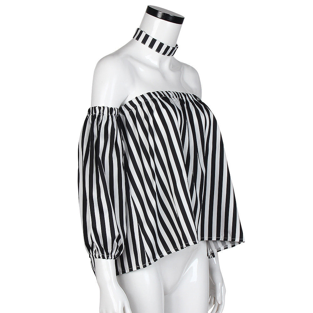 Off Shoulder Blouse Striped Shirt