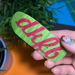 DK Fingerboards Single Deck - Split Ply - Cruiser 2 Shape - Green & Red Logo