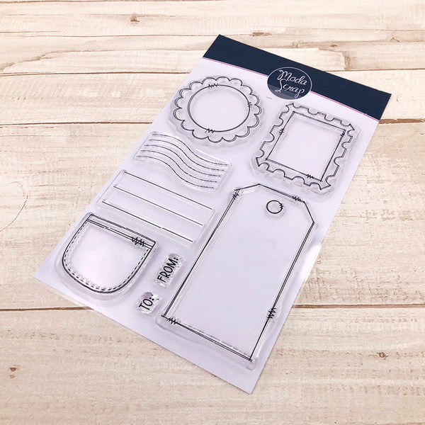 MODASCRAP CLEAR STAMPS - POSTAGE BITS