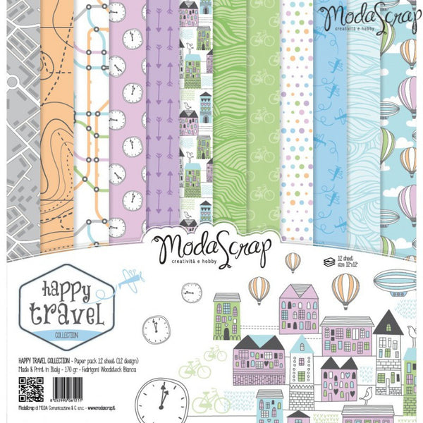 MODASCRAP - PAPER PACK HAPPY TRAVEL 12x12