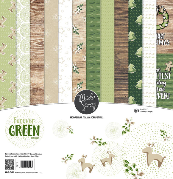 MODASCRAP - PAPER PACK FOREVER GREEN 12x12