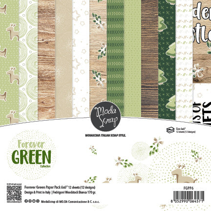 MODASCRAP - PAPER PACK FOREVER GREEN 6x6