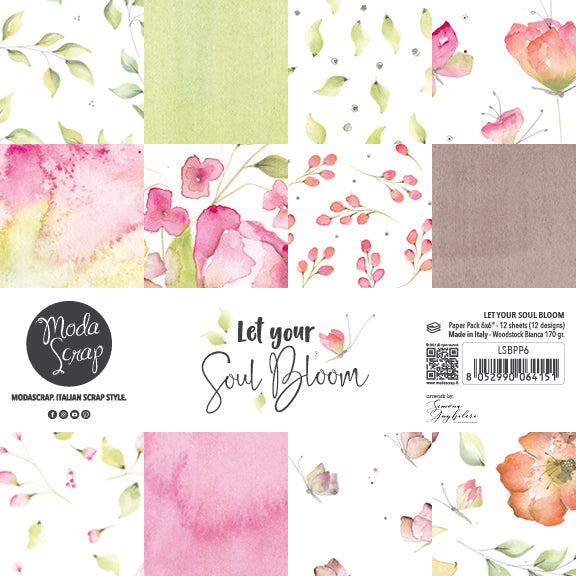 MODASCRAP - PAPER PACK LET YOUR SOUL BLOOM 6x6