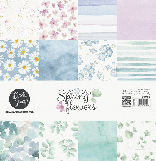 MODASCRAP - PAPER PACK SPRING FLOWERS 12x12