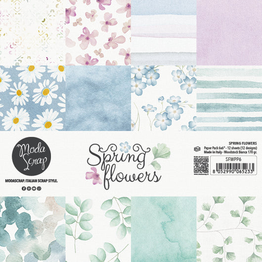 MODASCRAP - PAPER PACK SPRING FLOWERS 6x6