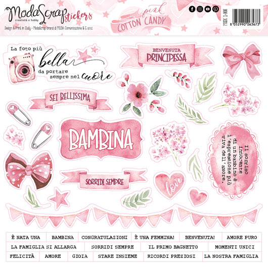 MODASCRAP - STICKERS PINK COTTON CANDY