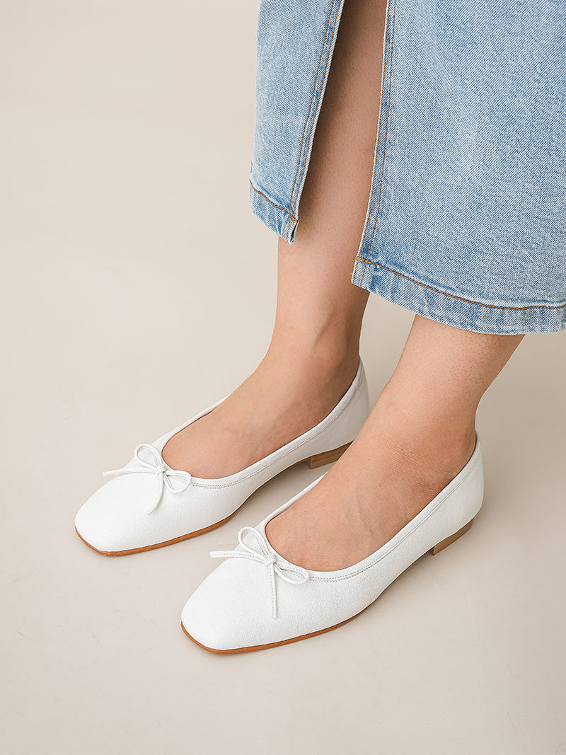 Lucy Ballet Flats - White