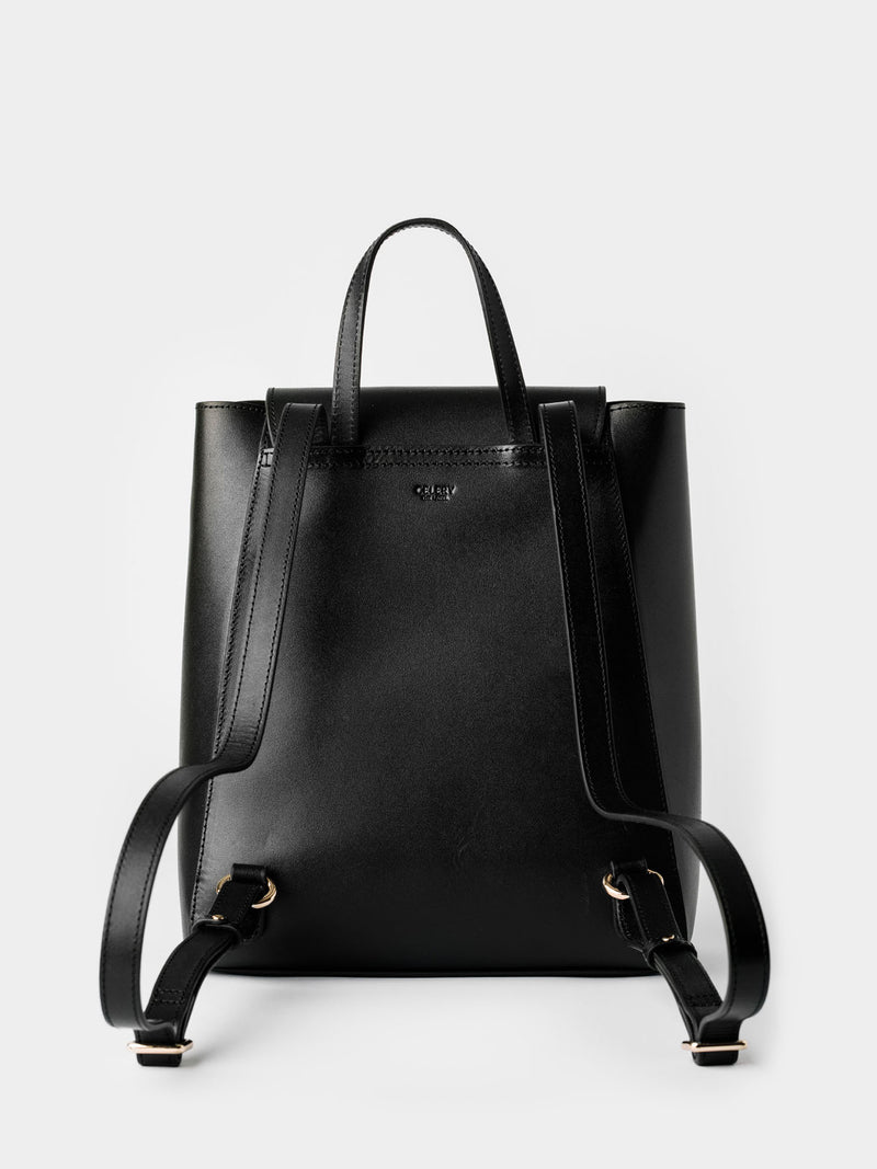 Simple Leather Backpack - Black