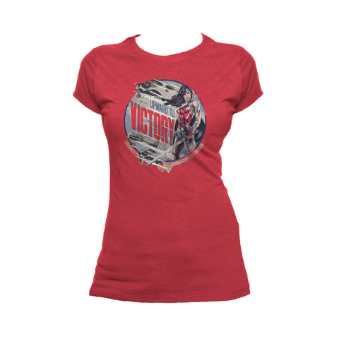 DC Wonder Woman Circle Victory Official Women's T-shirt (Red) - Urban Species Ladies Short Sleeved T-Shirt
