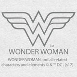 DC Comics Wonder Woman Logo Circle Distressed Official Women's T-shirt (Heather Grey)