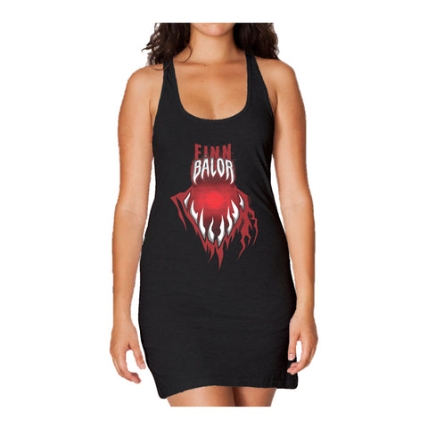 WWE Finn Balor Mouth Long Tank Dress Ladies (Black) - Urban Species Ladies Long Tank Dress