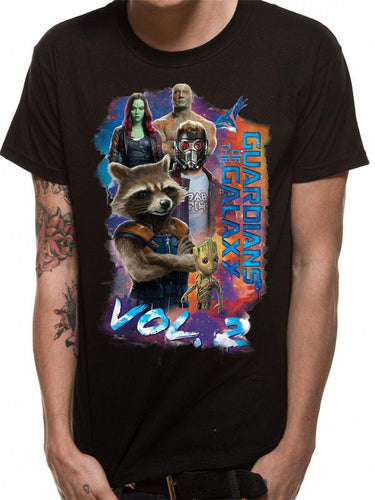 Marvel Guardians of the Galaxy Vol 2 Group Pose Men's Black T-Shirt - Urban Species Mens Short Sleeved T-Shirt