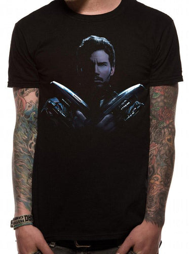 Marvel Guardians of the Galaxy Star Lord Pose Mens Black T-Shirt - Urban Species Mens Short Sleeved T-Shirt